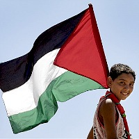 Palestinian Child with Flag