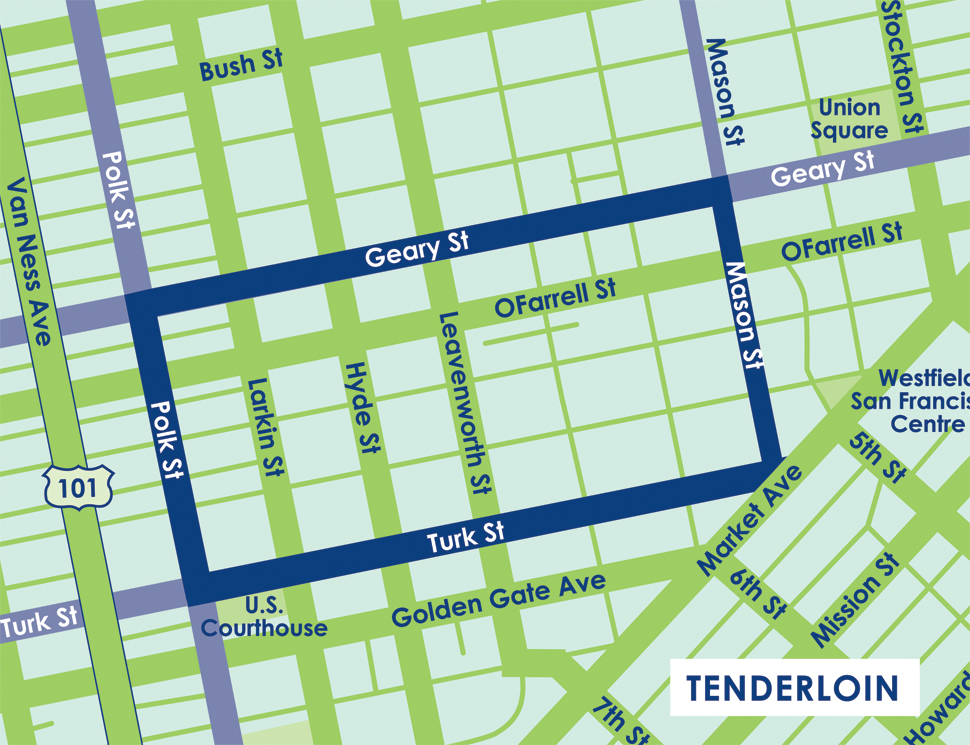 San Franciscos Gritty Tenderloin Pushes Back Against Techled - San francisco map tenderloin district
