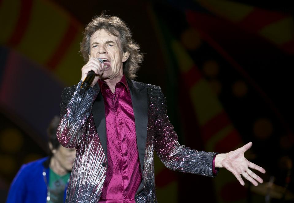 Stones' lead singer Mick Jagger performs in Havana, Cuba, Friday March 25, 2016. The Stones are performing in a free concert in Havana Friday, becoming the most famous act to play Cuba since its 1959 revolution. (AP Photo/Enric Marti)