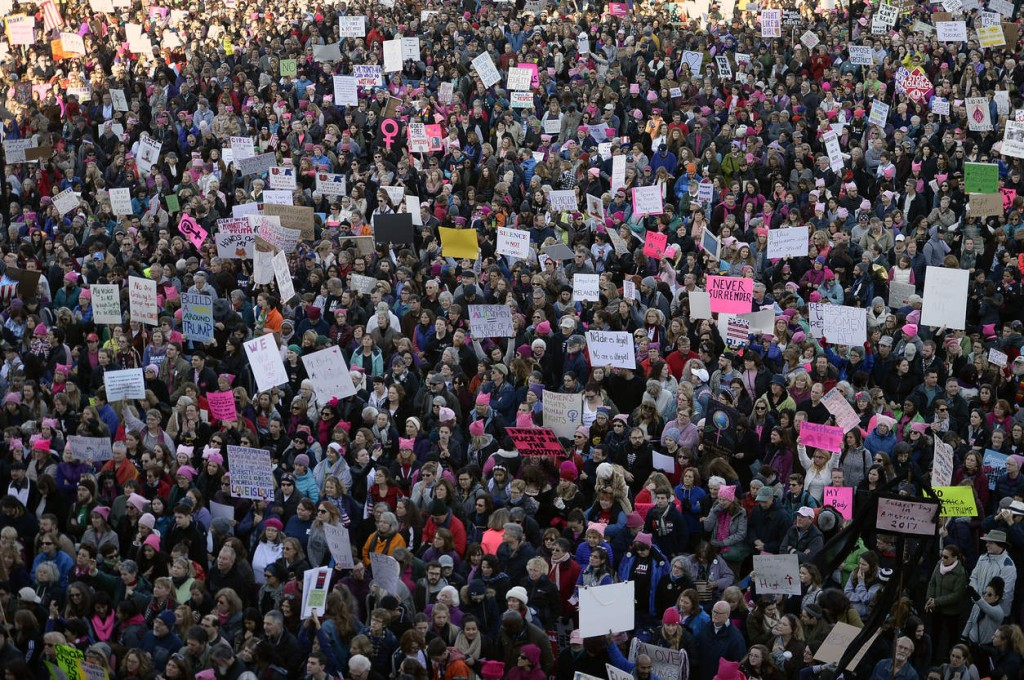 Thousands attend the Women's March rally at the Connecticut state Capitol in Hartford, Conn., Saturday, Jan. 21, 2017. (AP Photo/Jessica Hill) NYTCREDIT: Jessica Hill/Associated Press
