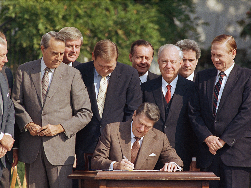 ronald reagan signing tax bill