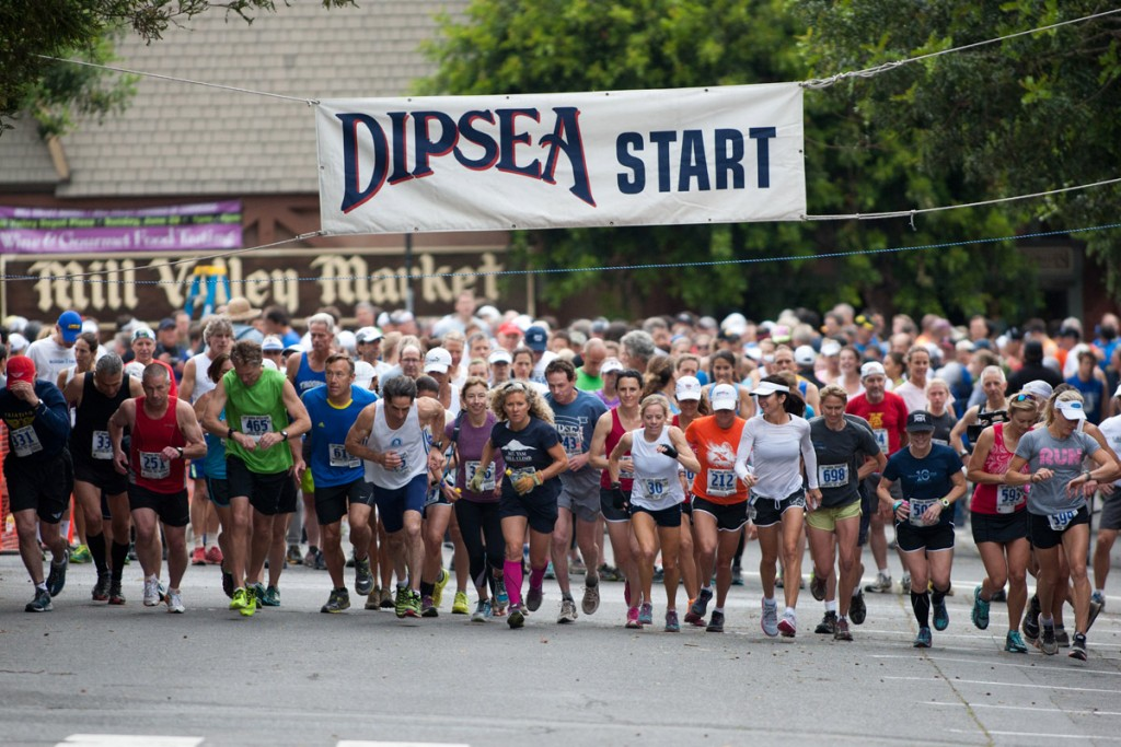 A group of runners take off from the starting line of the 103rd running of the 7.5-mile Dipsea Race footrace in Mill Valley, Calif. on Sun. June 9, 2013. (Special to Marin Independent Journal/Douglas Zimmerman)